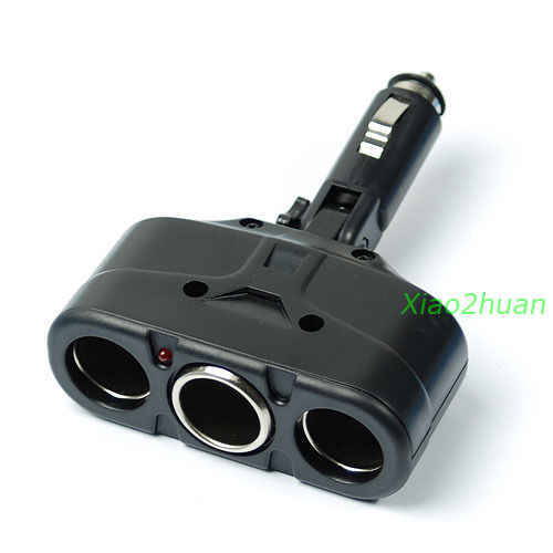 1PC Black  3 Way 12V Car Cigarette Socket Splitter Auto Adapter Charger USB Power Adapter new