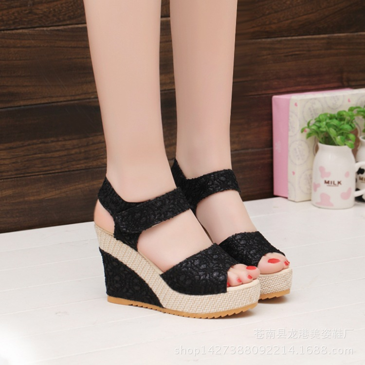 0432e5491fa Women Platform Sandals 2019 Summer Wedges Shoes Woman Lace Design Sexy High  Heels Female Fashion Rome Sandal Ladies Footwear-in Women s Sandals from  Shoes ...