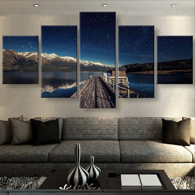 US $6.63 49% OFF|5 Stück Malerei Für Wohnzimmer Dekoration Bilder Frieden  Teich Wandkunst Landschaft Poster Kunstwerk Moderne Leinwand Gedruckt  Bilder ...