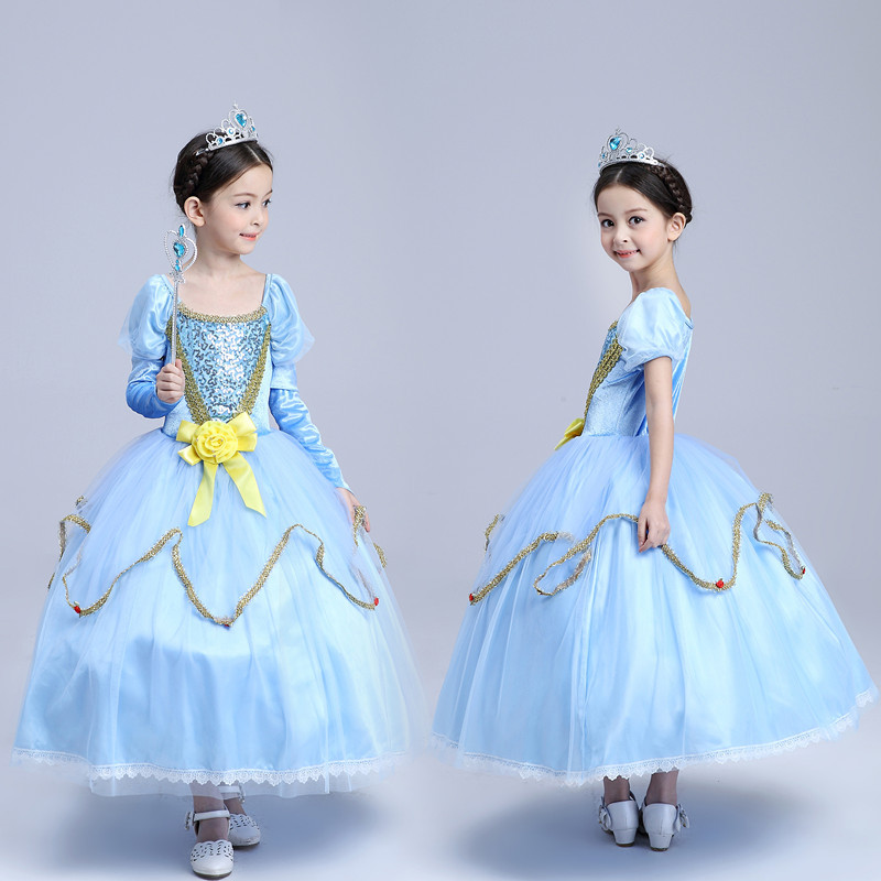 Children 's Wear Princess Girls Dress Party Wedding Mesh Flower Kids Clothing Blue