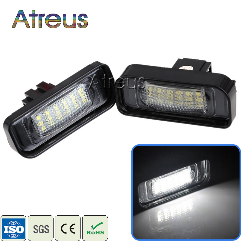 Atreus Car LED License Plate Lights For Mercedes W220 S-Class 99-05 Benz Accessories SMD3528 LED Number Plate Lamp Bulb Kit 12V 2pcs car led license plate light 12v smd3528 led number plate lamp bulb kit free error for ford focus 5d mondeo fiesta s max