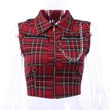 Fashion Women Club Punk Plaid Shirt Sleeveless Zipper Crop Top Streetwear Slim Blouses недорого