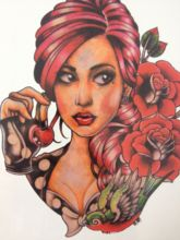 21 X 15 CM Red Hair Pretty Lady With Rose Sexy Cool Beauty Tattoo Waterproof Hot Temporary Tattoo Stickers #120