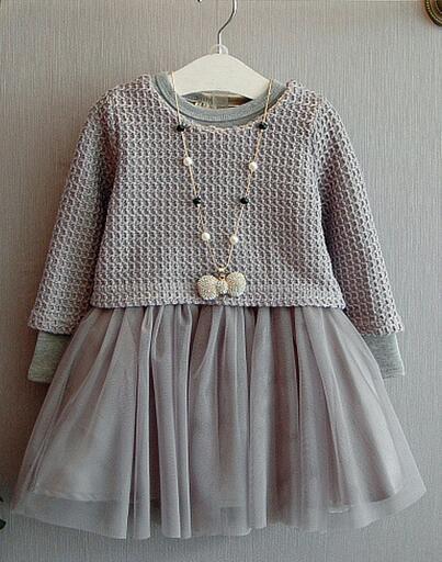 2016 otoño ropa de los niños muchachas de los sistemas de punto de algodón de manga larga niña establece para las niñas vestido de los cabritos + top 2 unids trajes