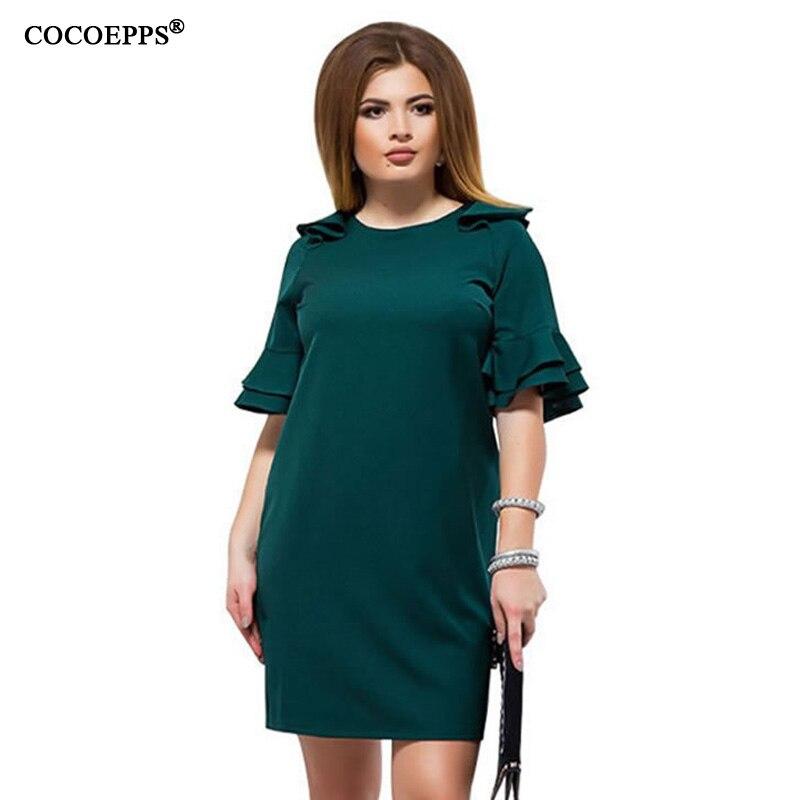 91869b9f71b9d10 Женское летнее платье большого размера 5xl 6xl повседневное прямое платье с  оборками и рукавами большого размера