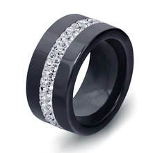 New 10MM Black and White 2 Row Crystal Ceramic Ring Women Engagement Promise Wedding Band Gifts For Women