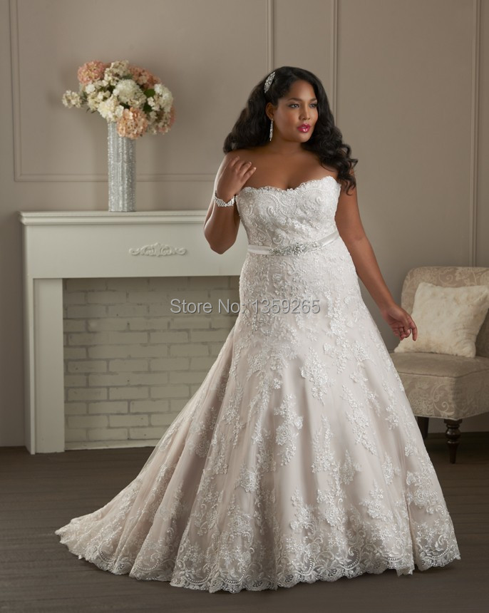 Free Shipping Plus Size Wedding Dresses Women Lace Beaded Bride Gown ...