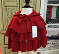Дети девочек вязать пуховкой кардиган девочка летучая мышь пончо младенцев осень зима верхней одежды трикотажные свитера детская одежда красный цвет