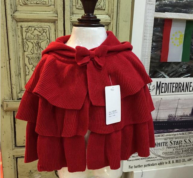 Niños niñas de lana soplo de la rebeca del bebé del batwing poncho bebés otoño invierno outwear punto los suéteres de la ropa de color rojo