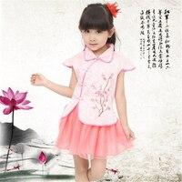 New Girls Cheongsam Cotton Padded Jacket Chinese Style Elegant Tutu Dresses Traditional Chinese Garments Kids Clothes 70C1016