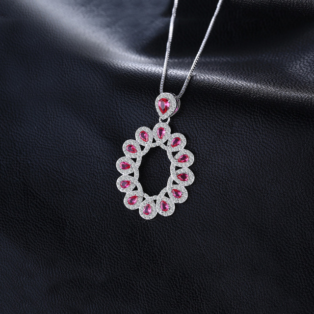 2.9ct Created Rubies Cluster Pendant  1