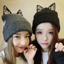 Fashion Lady Girls Winter Warm Knitting Wool Cat Ear Beanie Ski Hat Cap Outdoor diamond cap