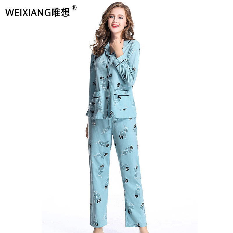 Spring And Autumn Pajamas Ladies Cotton Mother And Daughter In The Middle Of A Long Sleeved Clothes For Women In The Middle