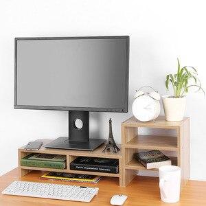 Image 4 - Bảo Vệ Cột Sống Và Cổ Máy Tính Laptop Tăng Lên Màn Hình Đứng Với Sắp Xếp Lưu Trữ Bằng Gỗ Bàn Máy Tính