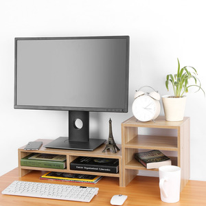 Image 4 - Beschermen Wervelkolom En Hals Computer Laptop Monitor Riser Stand Desktop Met Organizer Houten Computer Bureau