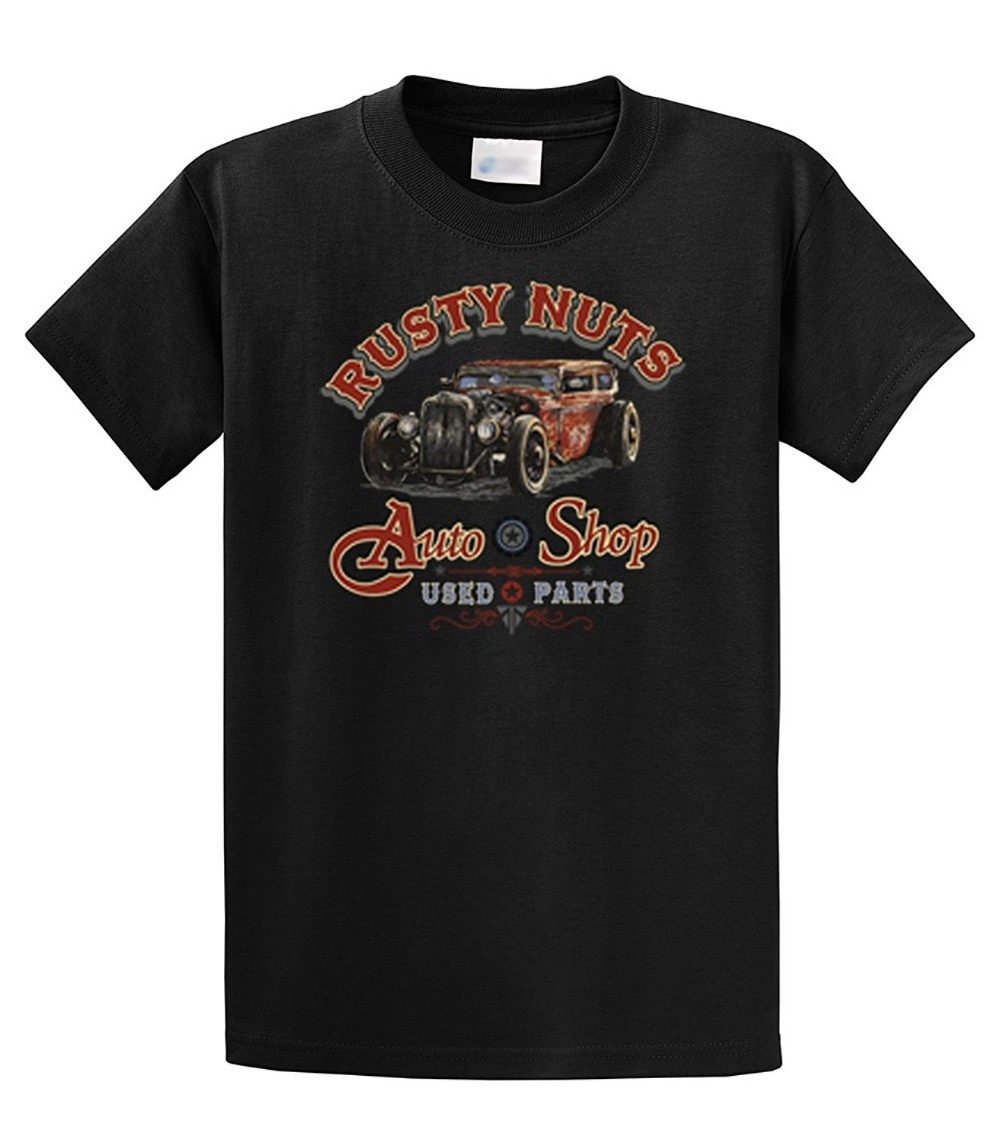 Fun Tee Shirts Short Men Funny Crew Neck Rusty Nuts Auto Shop Used Parts Classic T-shirt T Shirt