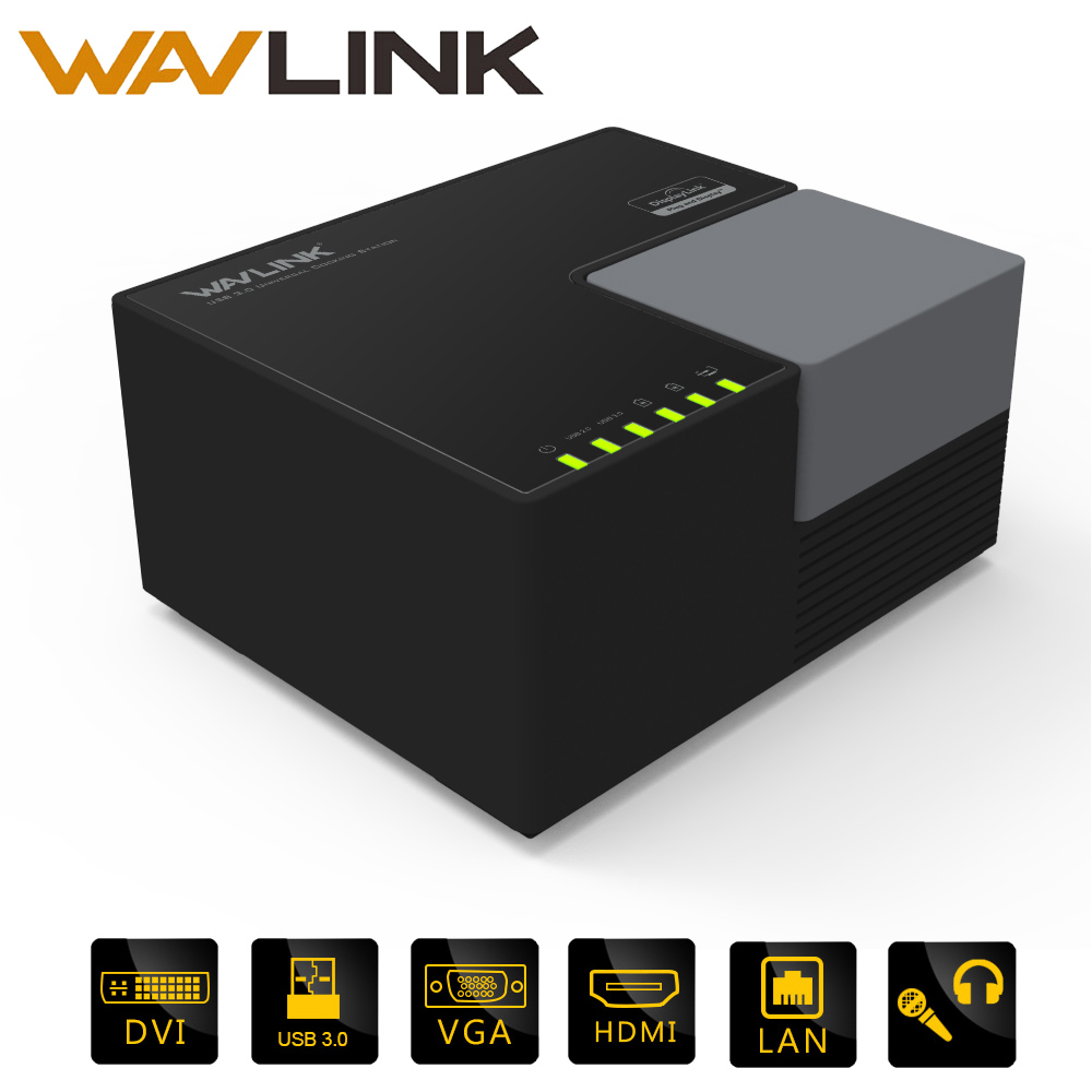 Universali stotelė Wavlink Išorinė USB 3.0 Dual Video DisplayLink USB HUB Full HD 1080P 2048x1152 DVI HDMI FOR LAPTOP PC