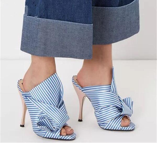 Schmetterling Sandalen Sandals Weiß flops Design Rot Stripes Schuhe Slide Knöchel Slipper Hausschuhe Strape Alias Streifen rosa Neues stripes knoten Flip Frauen Maultiere Blau 7qOnUXX