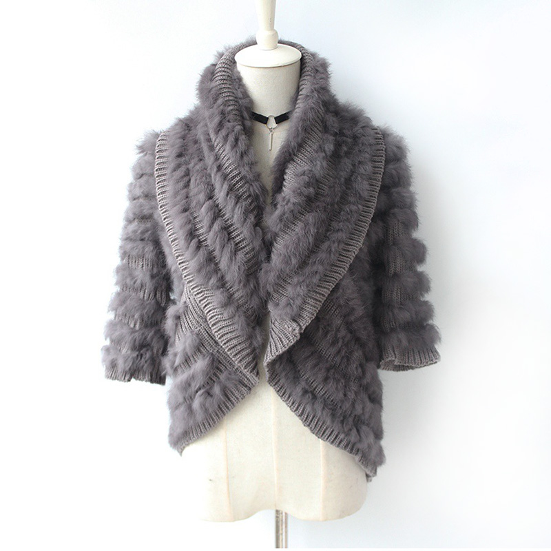 Autumn Winter Women's Real Knitted Rabbit Fur Cardigan Poncho Wraps Lady Capes Female Stole VF5021