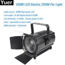 Stage light 200W LED Electronic Zoom Par lights 4 DMX512 channels Cool white or warm led lamp dmx strip box