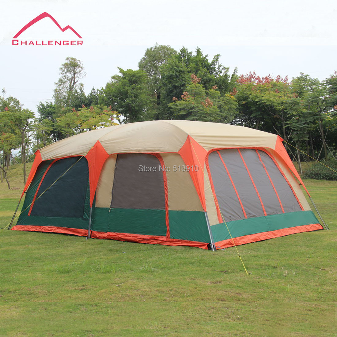 Super large family tent 8 12 person double layer UV50+ c&ing tent 2rooms 1 hall can be ide into 4rooms-in Tents from Sports u0026 Entertainment on ... & Super large family tent 8 12 person double layer UV50+ camping ...