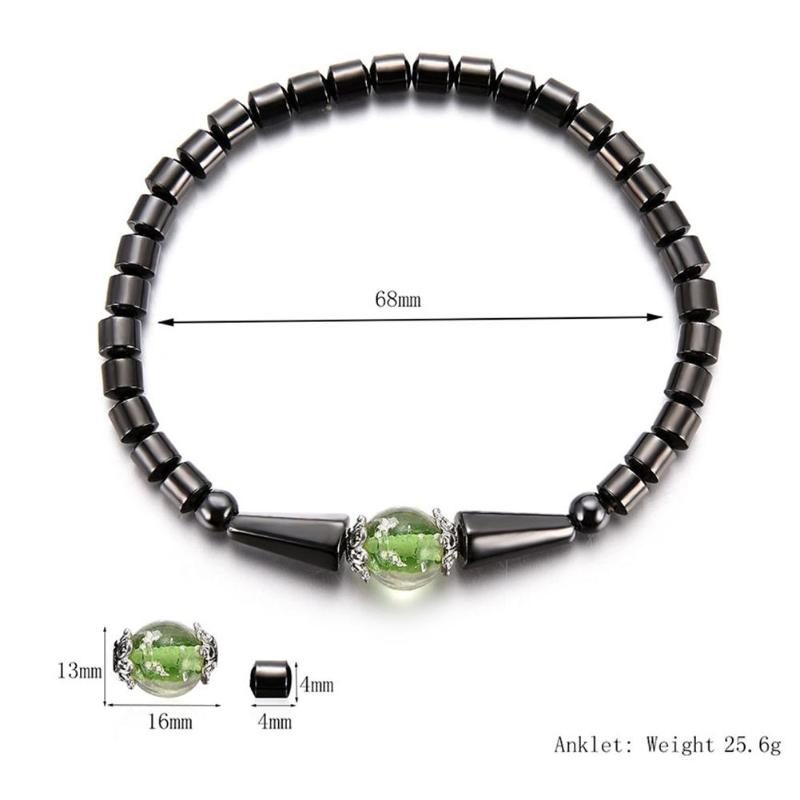 1Pc Weight Loss Round Black Stone Magnetic Therapy Anklet Health Care Magnetic Hematite Stretch Anklet For Men Women Jewelry 15