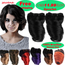 2Bundles/lot Short 8Inch Brazilian Virgin Hair Fumi Spring Curl Hair Weave Ombre Loosewave Human Hair Extensions 50g/Bundle