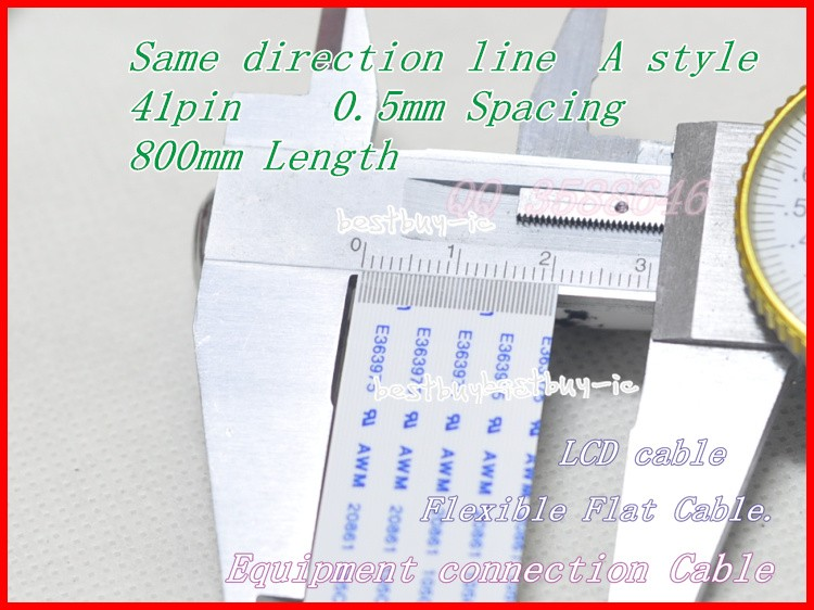 0.5mm Spacing +800mm Length +41Pin A / same direction line Soft wire FFC Flexible Flat Cable. 41P*0.5A*800MM