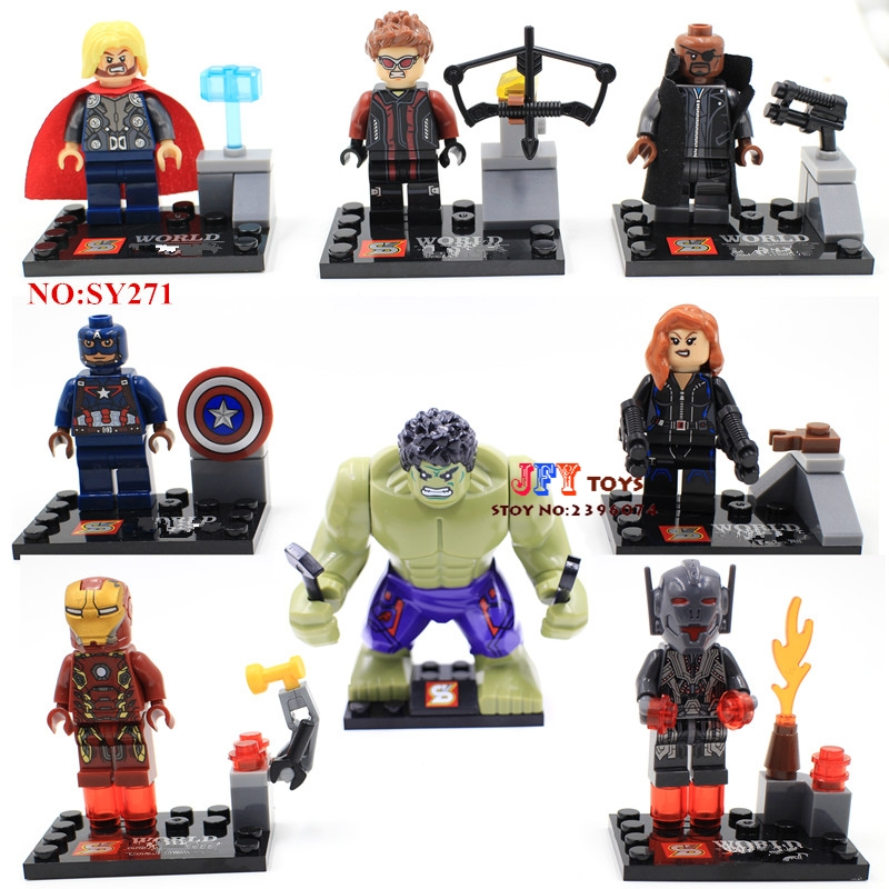 8pcs Star Wars Super Heroes Marvel The Avengers 2 Age Of Ultron Building Blocks Model Bricks Toys For Children Juguetes