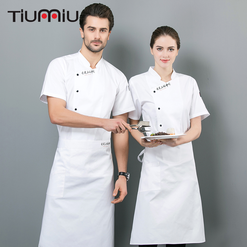 2019 New Embroidery Chef Restaurant Uniform Summer Hotel Kitchen Cuisine Pastry Baking Unisex Breathable Jacket High Quality