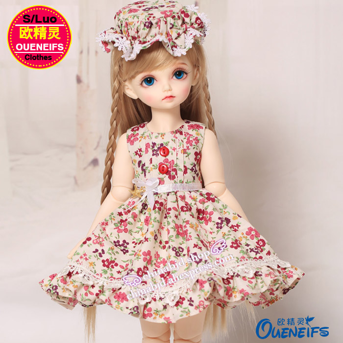 OUENEIFS free shipping Floral dress with cap,Leisure fashion and slim skirts,1/4 bjd/sd doll clothes,no doll or wig YF4-142 oueneifs free shipping new floral princess dress skirt lace edge 1 8 bjd sd doll clothes have not wig or doll yf8 106 page 9