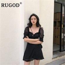 Rugod винтажное сексуальное мини платье с открытыми плечами