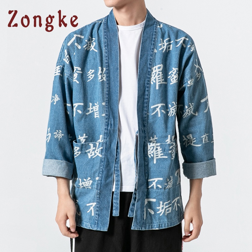 Zongke Chinese Buddhist Scripture Print Kimono Cardigan Japanese Kimono Men Jacket Streetwear Mens Kimono Denim Jacket Men 2019