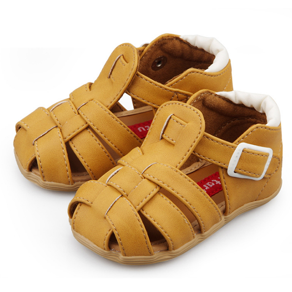 ABWE Best Sale Crtartu Summer models 1 Pair Brown Super-skin hollow woven Female Baby Step Shoes Size 13cm ...