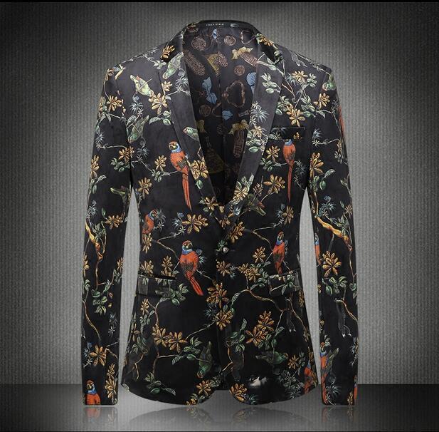 Flores de La Moda Masculina británica Impresión Cultivar Blazers Traje Casual de Negocios Hombre de Personalidad de Impresión Blazers