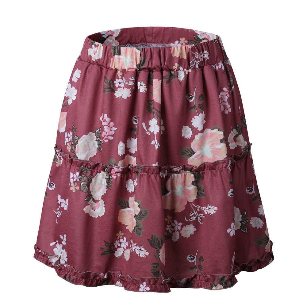 be9dd8d32 Minifalda corta de Chifón con estampado Floral holgada informal estilo  bohemio verano 2018