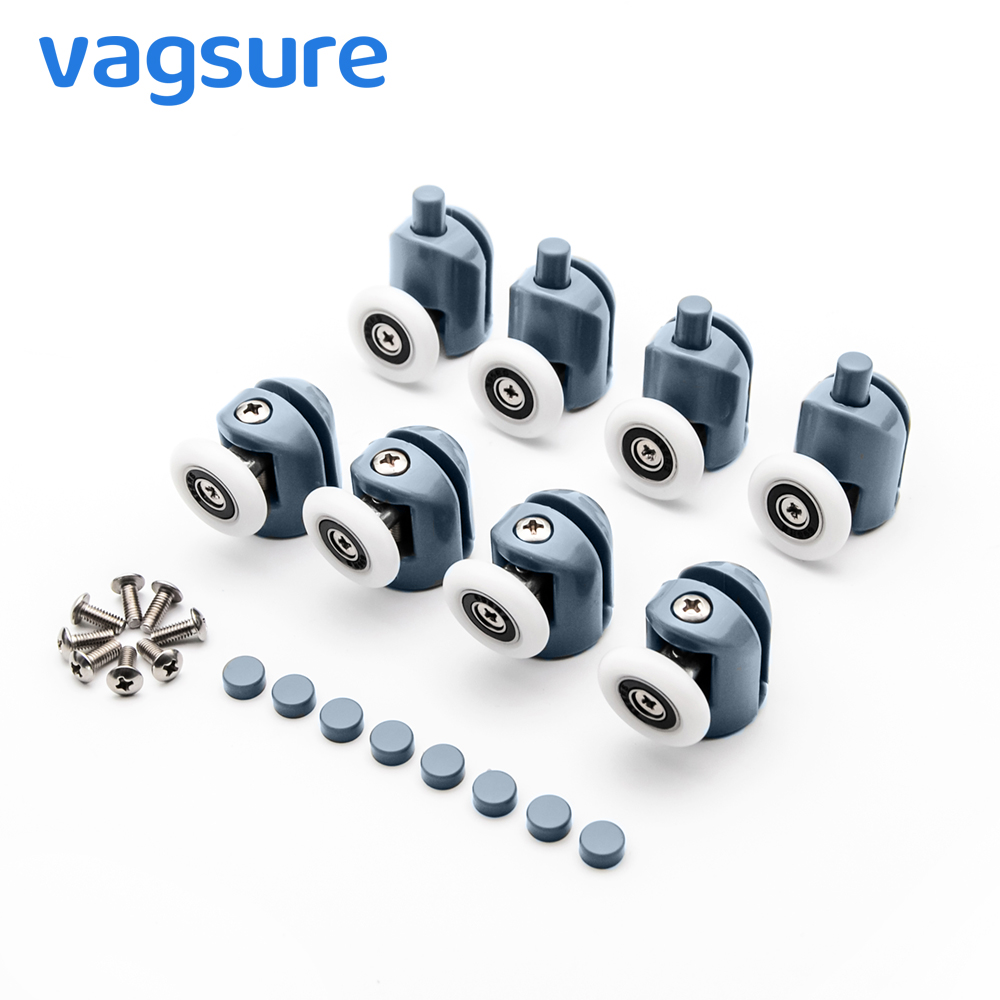 4pcs-8pcs/set 23/25mm Pop Up Pulley Wheels Brass Zinc Alloy Bearing Hardware  Sliding Door Roller Shower Room Cabin Accessories