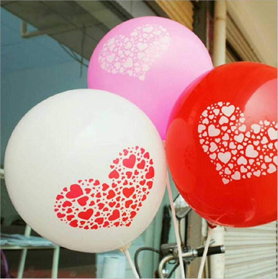 Online Shop 20pcs Lot 12inch Red Purple White Balloons Love Heart Latex Print Wedding Decoration