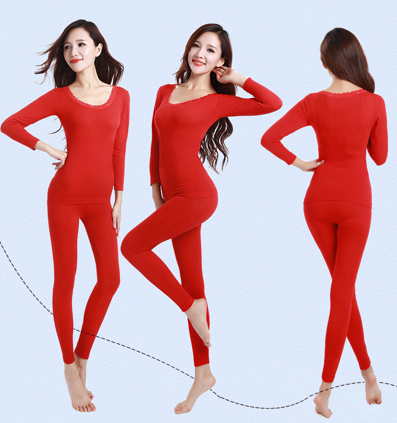 Jerrinut thermal underwear women long johns women for winter Warm long johns cotton sexy thermal underwear set for women 14