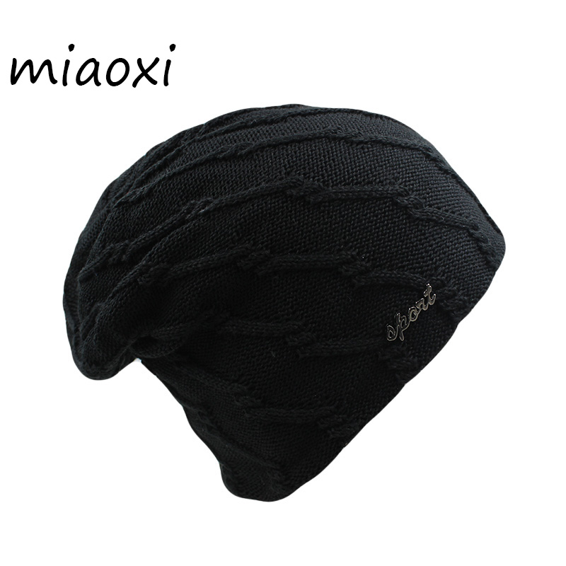miaoxi New Fashion Men Knit Winter Warm Casual Hat Striped Women Unisex Adult Beanies Skullies Casual Bonnet For Male Thick Hats skullies beanies the new russian leather thick warm casual fashion female grass hat 93022
