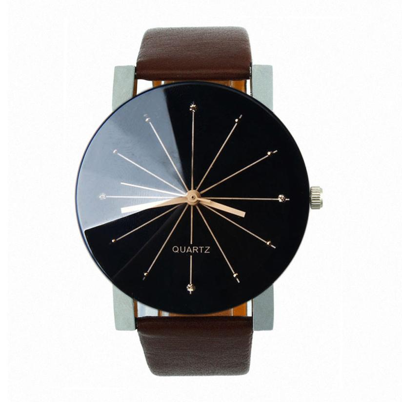 Women Watches Fashion Round PU Leather Band Quartz Wrist Watch Mens Gifts dignity New Arrival