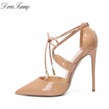 DorisFanny lace-up pompe di estate donne Nude scarpe tacco alto Nero Pompa I pattini 12 centimetri Stiletto sexy di cerimonia nuziale del partito scarpe(China)