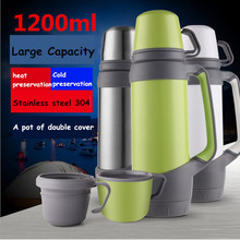 Hot 1L\2L Large Capacity Stainless steel 304 handgrip Double cap vacuum cup Portable Outdoor travel sport  thermos flask bottles
