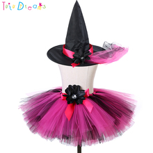 99307ed5d5 Hot Pink Black Witch Tutu Skirt With Hat Fluffy Flowers Bow Girl Evil  Halloween Party Costume