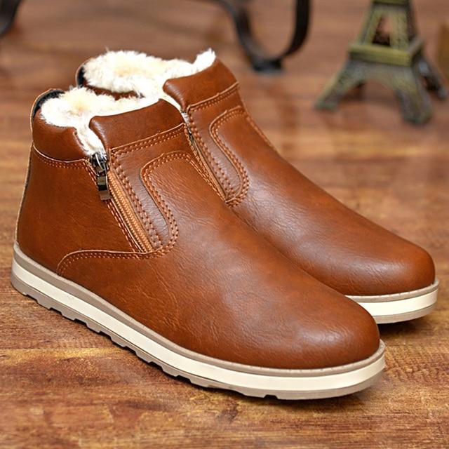 bc26c056634c Hommes En Cuir bottes En Peluche Chaud Zip Cheville D'hiver chaussures De  Mode PU
