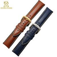 Skórzany pasek do zegarków Fossil Huawei watchband 20 22 24mm najnowszy pasek ze skóry charm brązowy niebieski pasek do zegarka