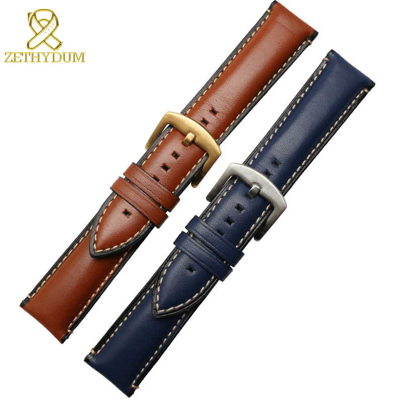 Genuine leather watch strap stitched watchband 20 22 24mm latest charm leather bracelet brown blue color watch belt