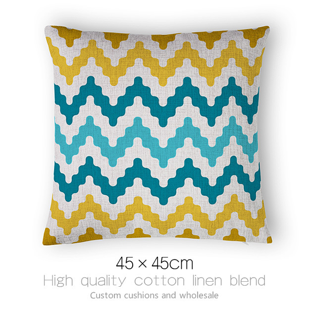 Geometric Throw Linen Pillow Cover Zig Wave Stripes Cotton Pattern Cushion Case Home Sofa Bed&Car Decor - ninety one store
