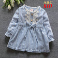 Cheap China Product Pink Blue Stripes Vestido Infantil Cute Bow Lace Dress Infants Blouse Dress Baby Dresses Girl Clothes KD230