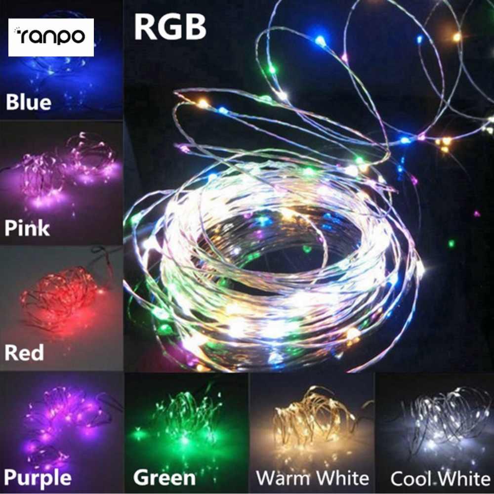 Горячая 3AA батарея питание 2 м 20 светодиодная гирлянда RGB многоцветный сказочные гирлянды Серебряный провод Рождество лампада праздничное освещение